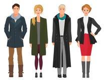 Przystojni młodzi facetów mężczyzna z piękną dziewczyny kobietą modelują w jesieni wiośnie przypadkowa nowożytna moda odziewa ilustracja wektor