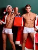 Przystojni macho Santa bliźniacy zdjęcie royalty free