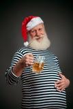 Przystojny żeglarz żeglarz piwny Claus Santa Zdjęcia Royalty Free