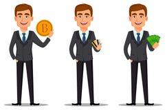 Przystojny bankowiec w garniturze ilustracja wektor