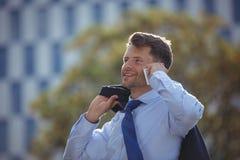 Przystojny biznesmen opowiada na telefonie komórkowym Zdjęcie Royalty Free