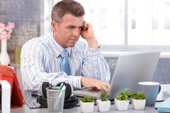 Przystojny biznesmen używa laptop obrazy royalty free