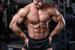 Przystojny bodybuilder szkolenie w gym mężczyzna dźwignięcia seksownych dumbbells Fotografia Stock