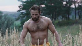 Przystojny brodaty atlety odprowadzenie w stepu i dotyk trawy ucho zdjęcie wideo