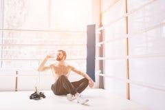 Przystojny brodaty bokser z nagą półpostacią ćwiczy przy walka klubem Obraz Royalty Free