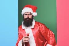 Przystojny brodaty Santa Claus mężczyzna fotografia stock