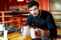 Przystojny brutalny bokser na pierścionku obraz royalty free