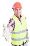 Przystojny budowniczy robi ręki potrząśnięcia gestowi fotografia stock