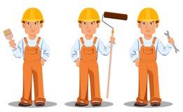 Przystojny budowniczy w mundurze Fachowy pracownik budowlany ilustracji