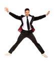 przystojny doskakiwania mężczyzna kostium Zdjęcia Stock