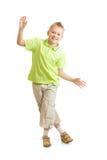 Przystojny dzieciak chłopiec równoważenie lub taniec odizolowywający Obraz Stock