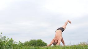 Przystojny elastyczny Sportowy mężczyzna robi joga asanas w parku zbiory wideo
