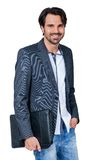 Przystojny elegancki mężczyzna niesie teczkę Fotografia Stock