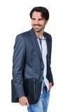 Przystojny elegancki mężczyzna niesie teczkę Obraz Stock