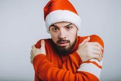 Przystojny facet himself na białym tle z brody przytuleniem fotografia stock