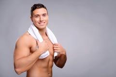 Przystojny facet po prysznic Zdjęcie Stock