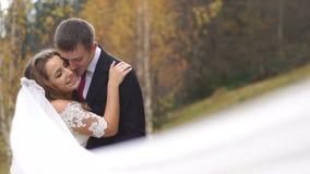 Przystojny fornal całuje w policzku jego wspaniałej uśmiechniętej panny młodej w yellowed lesie w jesieni zdjęcie wideo