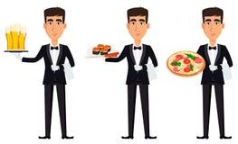 Przystojny kelner jest ubranym fachowego mundur Zdjęcia Stock