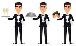 Przystojny kelner jest ubranym fachowego mundur Fotografia Royalty Free