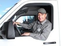 Przystojny kierowca ciężarówki. Zdjęcia Stock