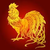 Przystojny koguta złoto na czerwonym tle Zdjęcia Royalty Free