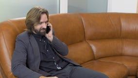 Przystojny mężczyzna opowiada na telefonu obsiadaniu na kanapie zbiory