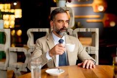 Przystojny mężczyzna pije czerwone wino podczas lunchu Obrazy Royalty Free