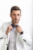 Przystojny mężczyzna przystosowywa jego łęku krawat w eleganckim kostiumu Zdjęcia Royalty Free