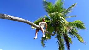 Przystojny mężczyzna sadza na palmie zdjęcie wideo