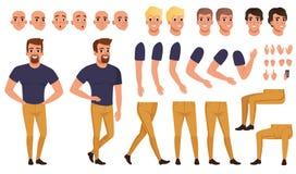 Przystojny mężczyzna tworzenie ustawiający z różnorodnymi widokami, pozami, twarzy emocjami, ostrzyżeniami i ręka gestami, Kreskó royalty ilustracja