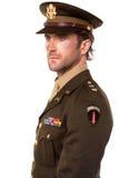 Przystojny mężczyzna ubierający w druga wojna światowa mundurze Obrazy Stock