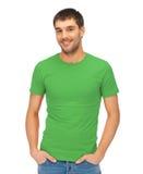 Przystojny mężczyzna w zielonej koszula Obrazy Royalty Free
