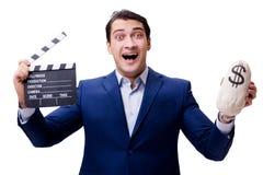 Przystojny mężczyzna z filmu clapper odizolowywającym na bielu Obraz Stock