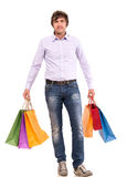 Przystojny mężczyzna z torba na zakupy Fotografia Royalty Free