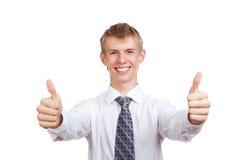 Przystojny młody biznesowego mężczyzna szczęśliwy uśmiech Zdjęcie Royalty Free