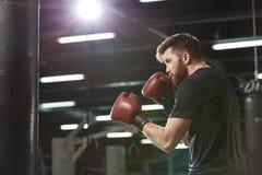 Przystojny młody silny sporta mężczyzna bokser robi ćwiczeniom obrazy stock