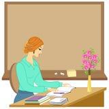 Przystojny m?ody nauczyciel Dziewczyna siedzi przy sto?em blisko okno Kobieta pisze w klasowym czasopi?mie r?wnie? zwr?ci? corel  ilustracja wektor