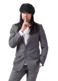 Przystojny mężczyzna z palcem na wargach Zdjęcia Stock