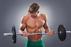 Przystojny Mięśniowy mężczyzna robi bicepsom Fryzuje z Barbell Fotografia Royalty Free