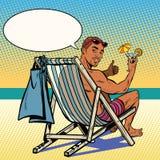 Przystojny murzyn odpoczywa na plaży royalty ilustracja