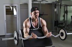 Przystojny potężny sportowy mężczyzna robi bicepsom ćwiczy z barbell Zdjęcie Royalty Free