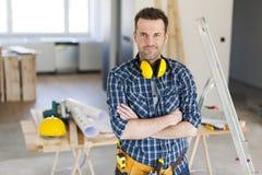 Przystojny pracownik budowlany zdjęcie stock