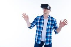 Przystojny przyjemny mężczyzna excited o nowej technologii Fotografia Stock