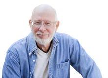 Przystojny Starszego mężczyzna portret na bielu Fotografia Royalty Free