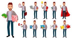 Przystojny ufny biznesowy mężczyzna, set ilustracja wektor