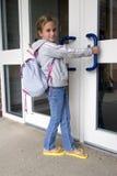 przyszłość jej otwarcie drzwi Fotografia Royalty Free