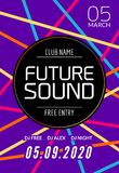 Przyszłości muzyki przyjęcia rozsądny szablon, prywatka ulotka, broszurka Nocy przyjęcia klubu kreatywnie plakat z DJ lub sztanda royalty ilustracja