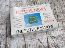 Przyszłościowa wiadomości gazeta: Przyszłość Jest Teraz, 3d ilustracja ilustracji