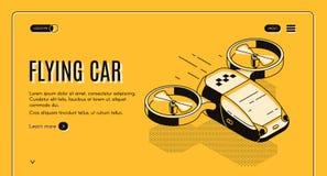 Przyszłościowego latającego taxi samochodowa isometric wektorowa strona internetowa ilustracja wektor