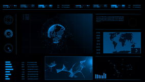 Przyszłościowego pojęcia dotyka wirtualny interfejs użytkownika HUD z światową mapą, wykresami, hologramem i plexus, Interaktywny zdjęcie wideo